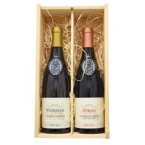 Wijnkist Delas - Vin de Pays DOC Viognier en Syrah Vin de Pays de L'Ardeche